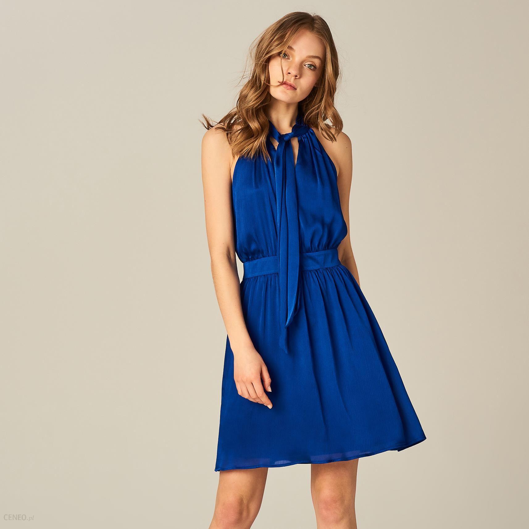 f38fad8896 Mohito - Szyfonowa sukienka z wiązaniem przy dekolcie - Niebieski - zdjęcie  1