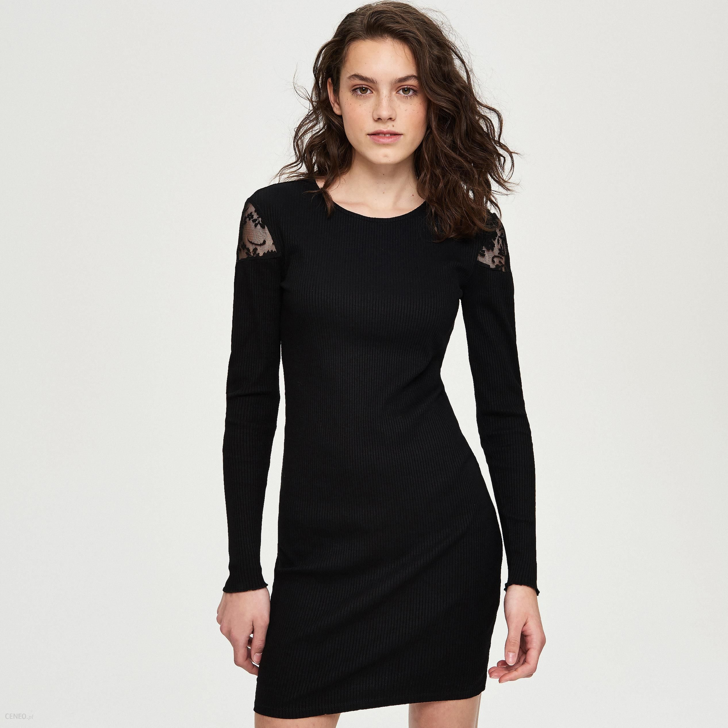 08f6468a78 Sinsay - Sukienka z koronkową wstawką na ramionach - Czarny - Ceny i ...