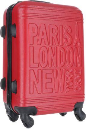 dc4e03ffeefb0 Modna Walizka Kabinówka Or&Mi Paris/London/NewYork 4 kółka Czerwona ...