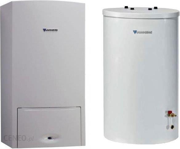 """Junkers"" 1 paketo ""Cerapur Smart Zsb 14-5C"" kondensacinis dujinis katilas su stovinčiu karšto vandens rezervuaru St 120-5Z ir prijungimo plokšte (8734100508).  Dovana"