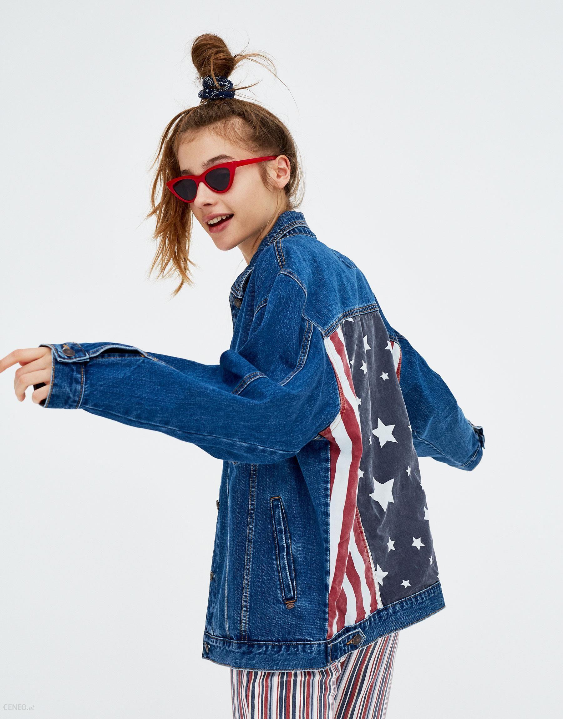 ac2abfea Pull & Bear Kurtka jeansowa z flagą - Ceny i opinie - Ceneo.pl