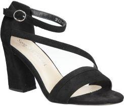 b37cdab0b000d Czarne sandały z paskiem na szerokim obcasie Sergio Leone SK821-01M ...
