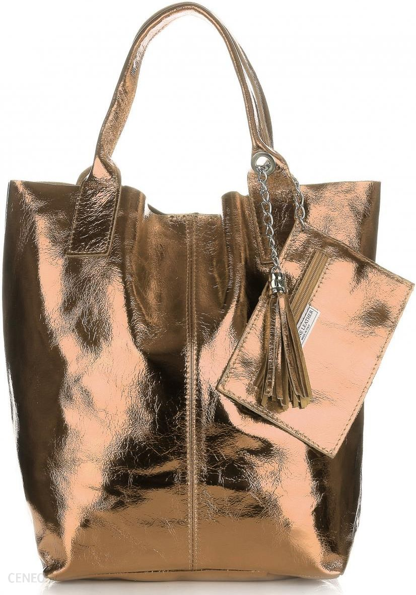f0c8a8b642933 Oryginalne Torebki Skórzane ShopperBag Genuine Leather Błysk Szampan  (kolory) - zdjęcie 1