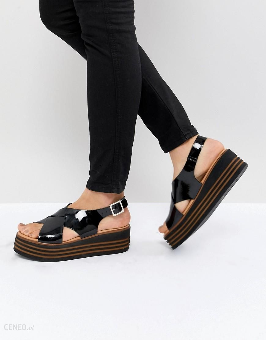 d1974ca9478 ASOS DESIGN Tornado Leather Patent Flatforms - Black - zdjęcie 1
