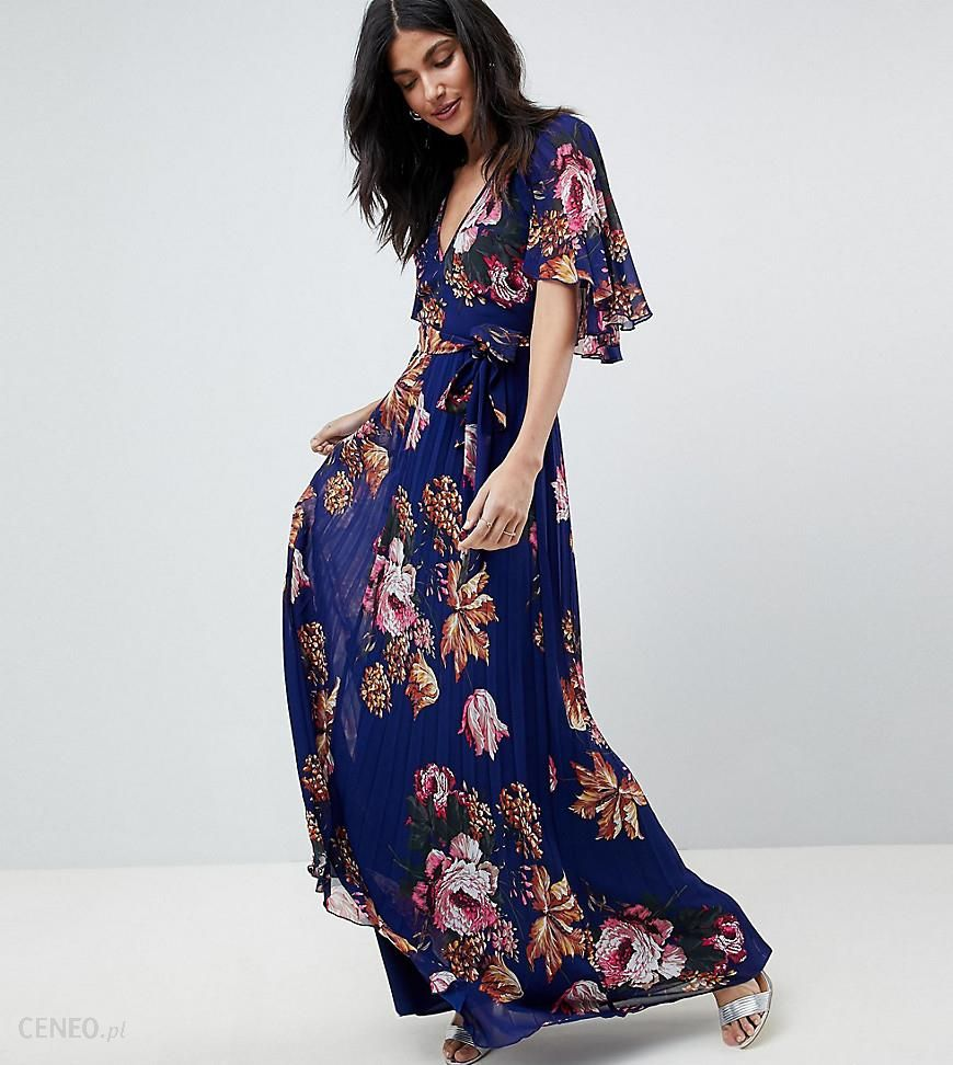 f3069658780 Asos Design Vintage Floral Pleated Maxi Dress With Flutter Sleeve ...