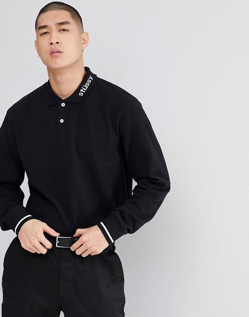 28c7a8e048f74 Stussy Heavy Pique Long Sleeve Polo Shirt With Logo Collar - Black -  zdjęcie 1