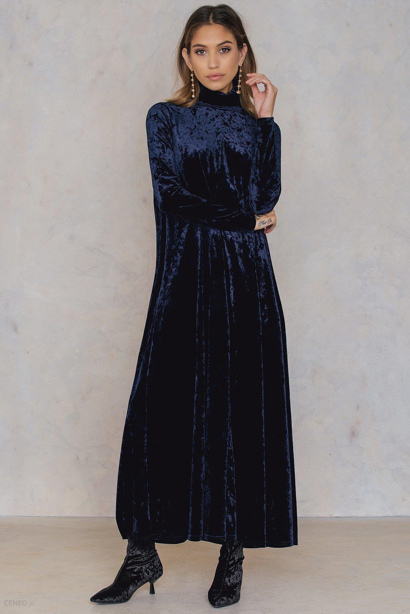 184a730699 NA-KD Aksamitna długa sukienka z golfem - Ceny i opinie - Ceneo.pl