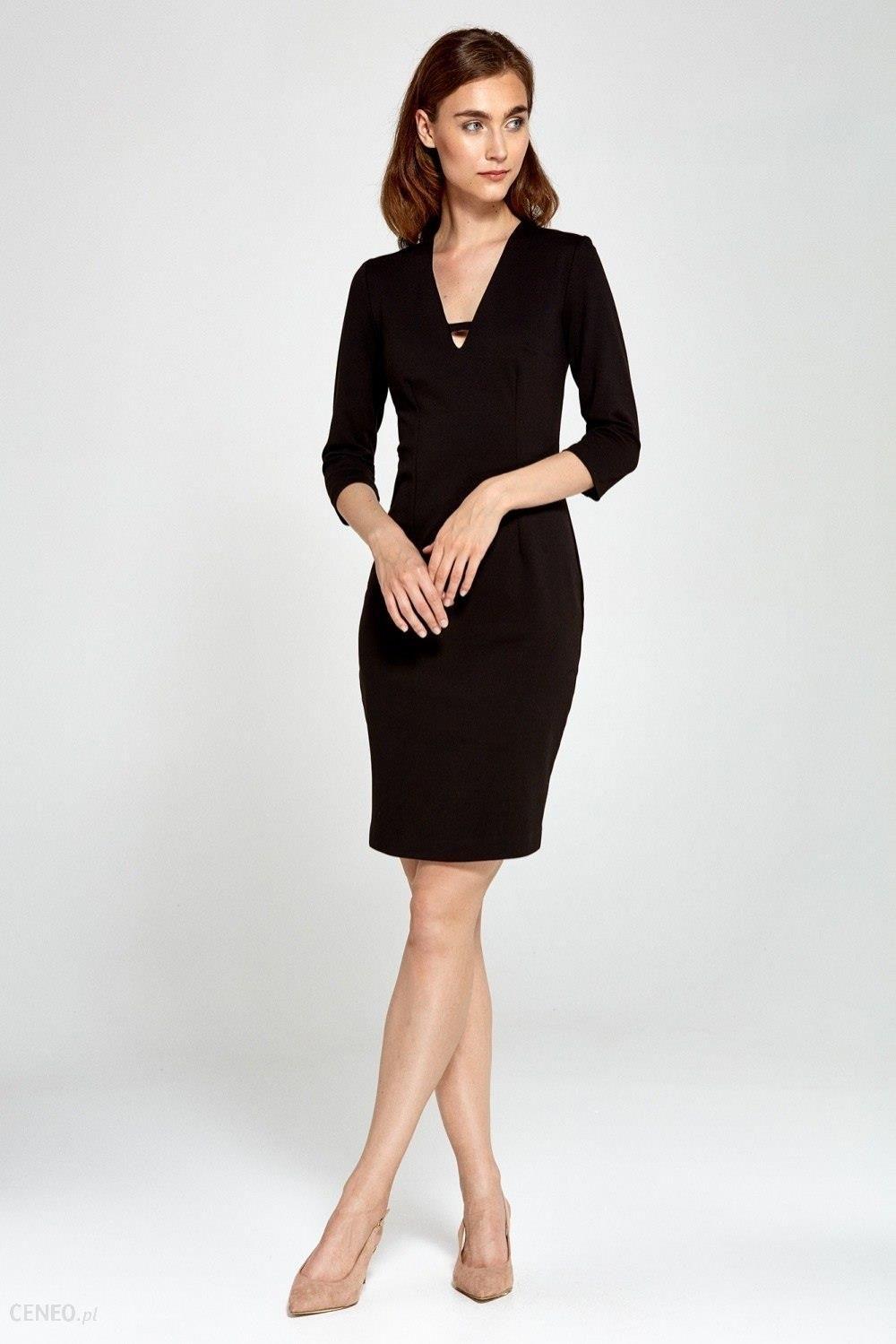 df29780a47 Nife Dzianinowa sukienka z dekoltem V- czarny - Ceny i opinie - Ceneo.pl