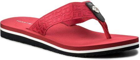c167a36543804 Japonki TOMMY HILFIGER - Jacquard Low Beach Sandal FW0FW02382 Tango Red 611  eobuwie