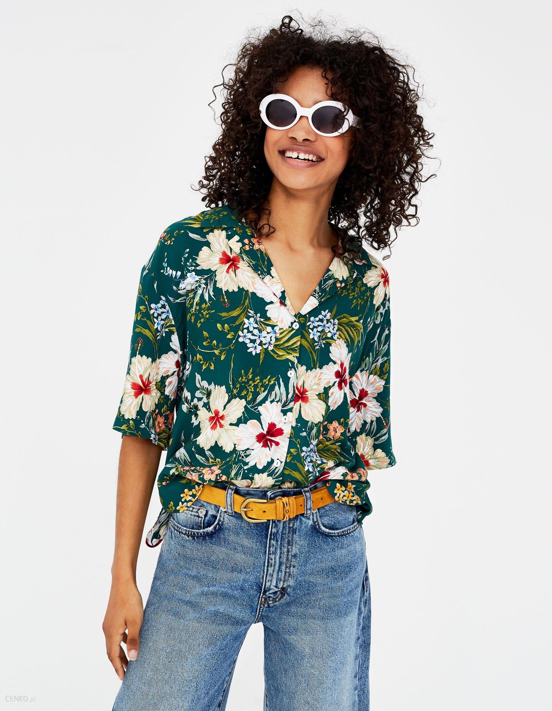 Pull & Bear Koszula z tropikalnym nadrukiem Ceny i opinie  x7SH5