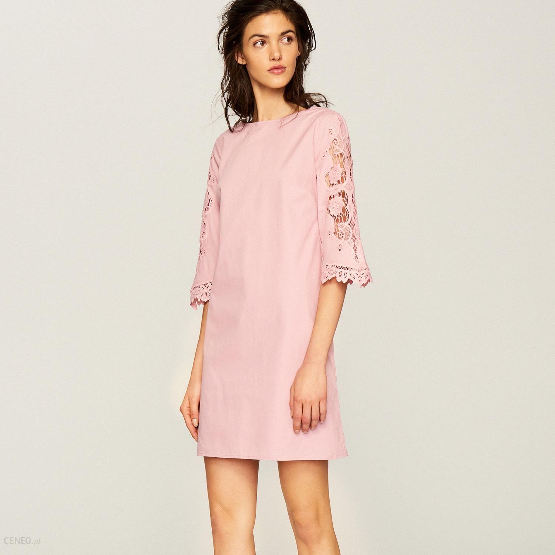 cd71501eee Reserved - Sukienka z koronkowymi rękawami - Różowy - Ceny i opinie ...