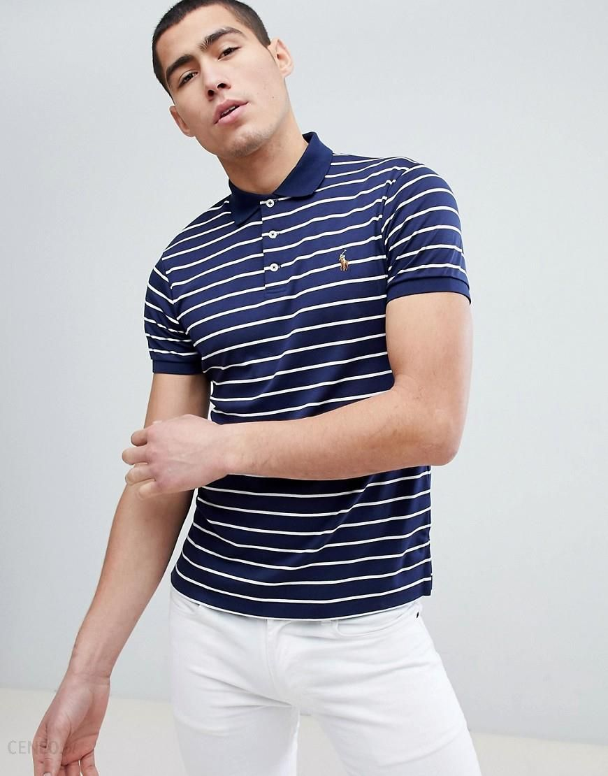 09e73f76 Polo Ralph Lauren Slim Fit Pima Jersey Stripe Polo Multi Player in Navy -  Navy -