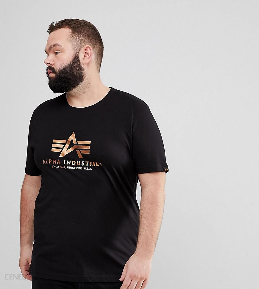 628620e68 Alpha Industries PLUS Nasa Gold Foil Print Crewneck T-Shirt in Black -  Black - Ceneo.pl