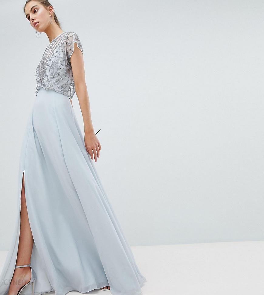 71467d36270c ASOS DESIGN Tall Wedding delicate beaded bodice maxi dress - Grey - zdjęcie  1