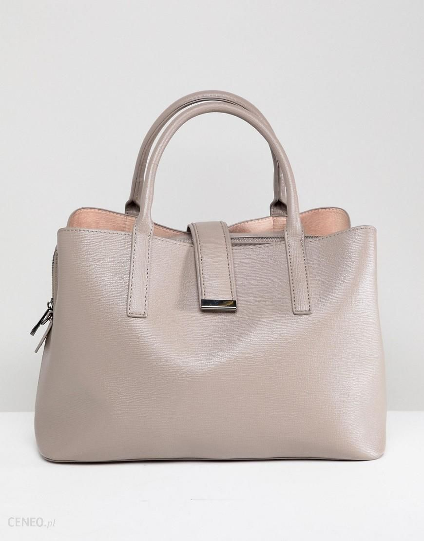 a26f8e43be ASOS DESIGN Soft Pinch Lock Tote Bag - Grey - zdjęcie 1