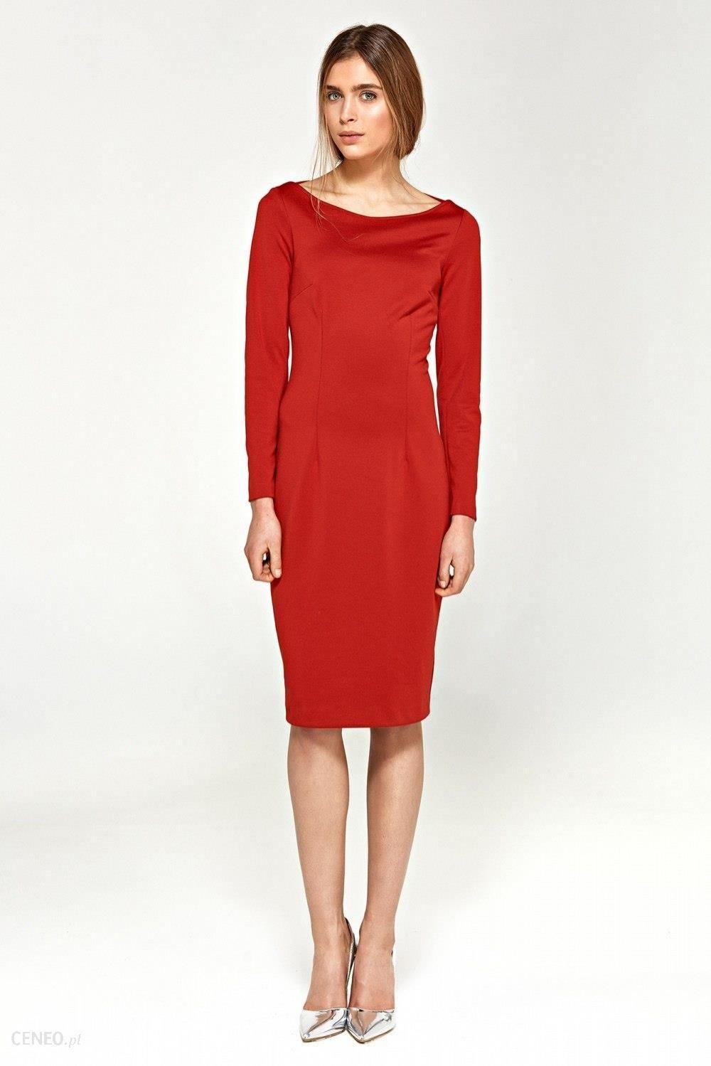 667e576aa9 Nife Dzianinowa sukienka z dekoltem w łódkę S95 Red - Ceny i opinie ...