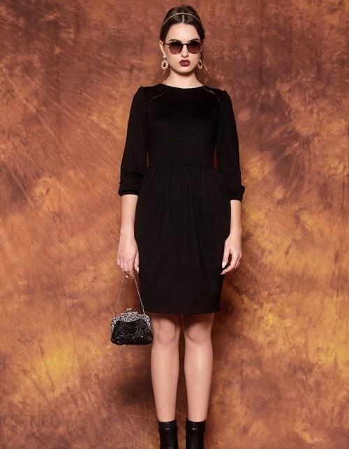 fcf6b84ba6 Kasia Miciak design Sukienka z bufkami czarna - Ceny i opinie - Ceneo.pl
