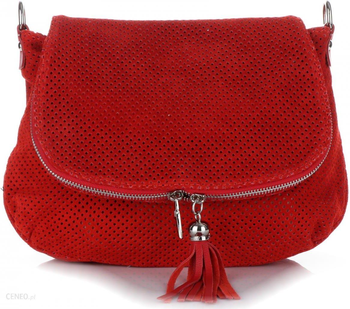 d1e82efe37411 Włoskie Ażurowane Torebki Skórzane Listonoszki firmy Genuine Leather  Czerwona (kolory) - zdjęcie 1