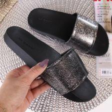 7e011fc1d799f Klapki damskie gumowe brokatowe czarne ZAXY Snap Glitter - czarny ...