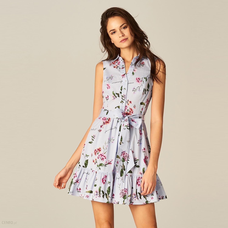 Mohito Rozkloszowana Sukienka Z Wiązaniem W Talii Wielobarwn