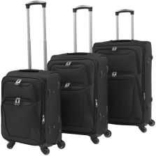 2b1968260ceaf vidaXL 3-częściowy komplet walizek podróżnych, czarny
