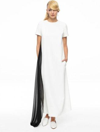 440fc7741f EyeForFashion Biała sukienka ze zwiewną czarną falbaną AK CLASSIC 5