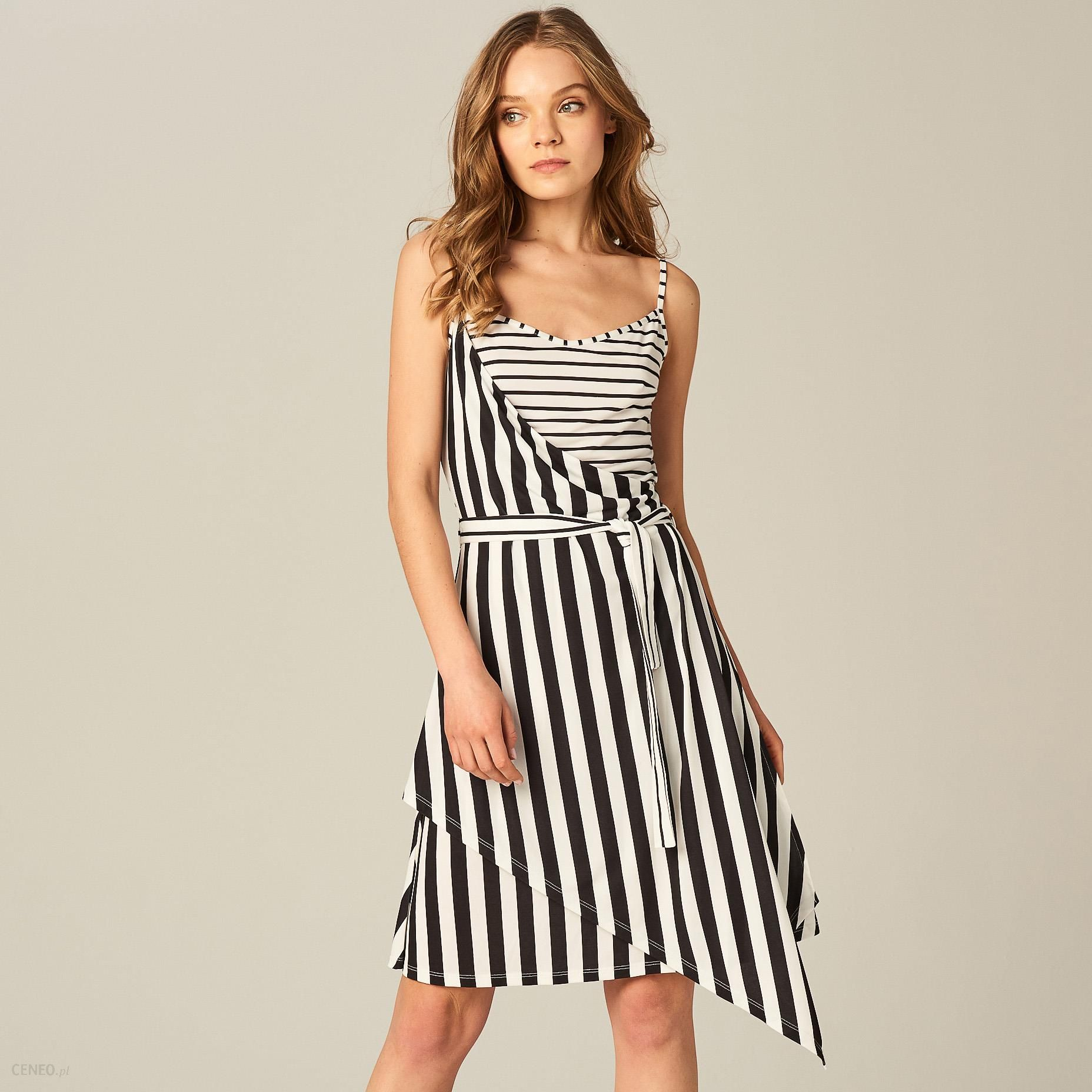 b494d09618 Mohito - Asymetryczna sukienka w pasy - Biały - Ceny i opinie - Ceneo.pl