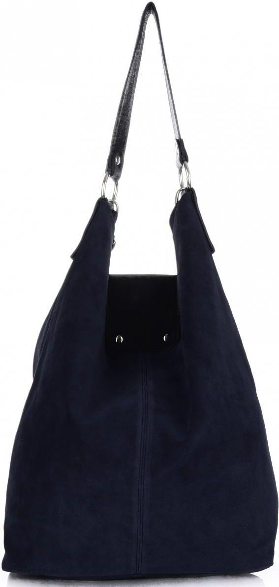 91b80057b0eb8 Duża Torba Skórzana Shopper XXL Vittoria Gotti Made in Italy zamsz  naturalny wysokiej jakości Granatowa -