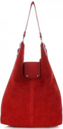 07100634500d9 Duża Torba Skórzana Shopper XXL Vittoria Gotti Made in Italy zamsz  naturalny wysokiej jakości Czerwona ...
