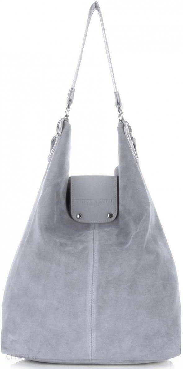 Duża Torba Skórzana Shopper XXL Vittoria Gotti Made in Italy zamsz naturalny wysokiej jakości Jasno Szara