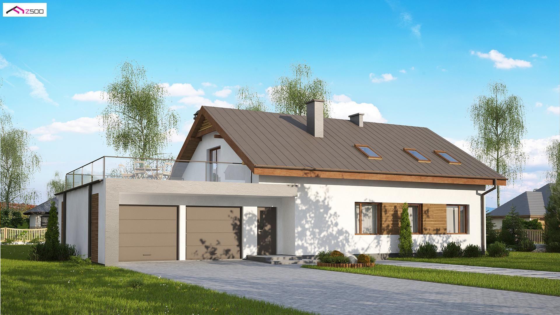 Projekt Domu Z182 Gl2t Z Poddaszem Użytkowym Garaż 2 Stanowiskowy Z