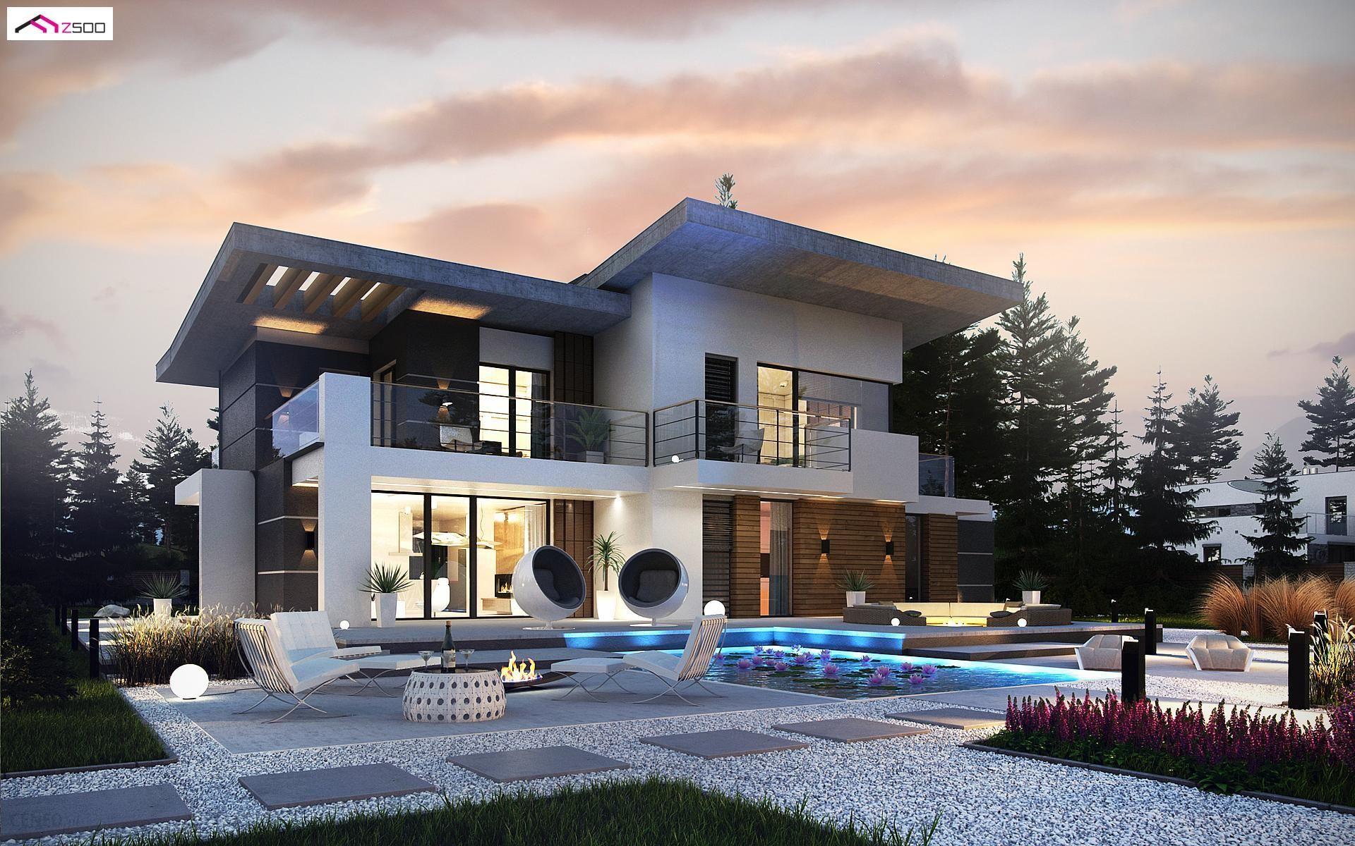 Projekt Domu Zx22 Nowoczesny Piętrowy Dom Z Garażem Oraz Tarasem Sypialnia Na Parterze Z łazienką Opinie I Ceny Na Ceneopl