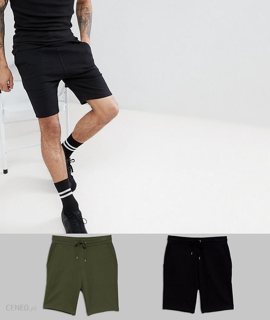 244d8a50f6e ASOS DESIGN Jersey Skinny Shorts 2 Pack Black Khaki Save - Multi - Ceneo.pl