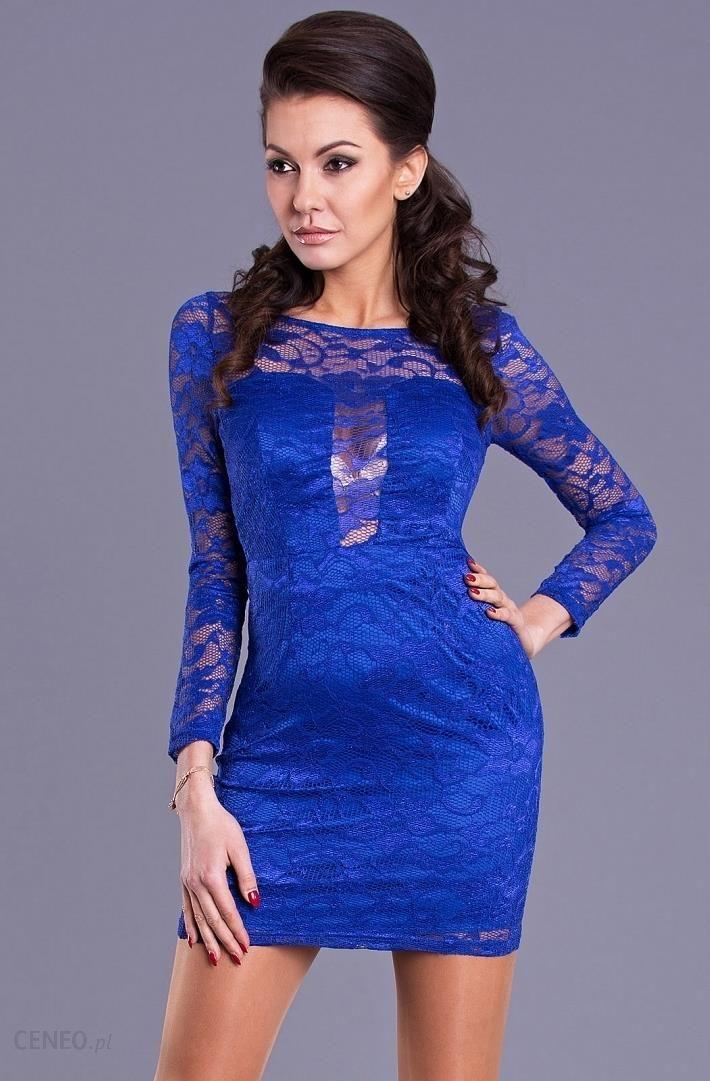 bd4de85b9f EVA LOLA Sukienka Niebieska Wyjściowa Koronka - Ceny i opinie - Ceneo.pl