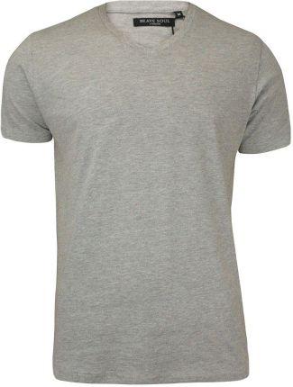 Popielata Męska Koszulka (T-shirt) - Brave Soul - V-Neck TSBRSSS18SAINTBgrey - Ceny i opinie T-shirty i koszulki męskie DTOX