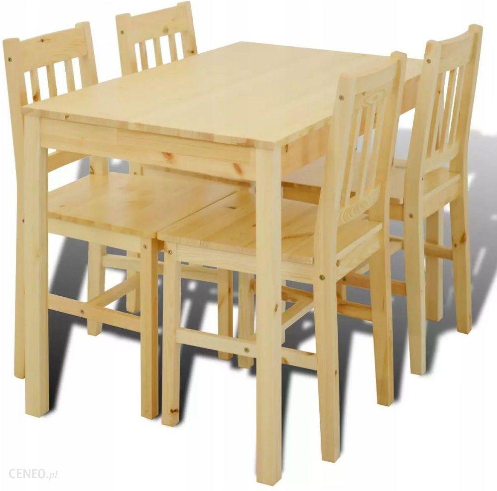 Vidaxl Drewniany Zestaw 4 Krzesła I Stolik