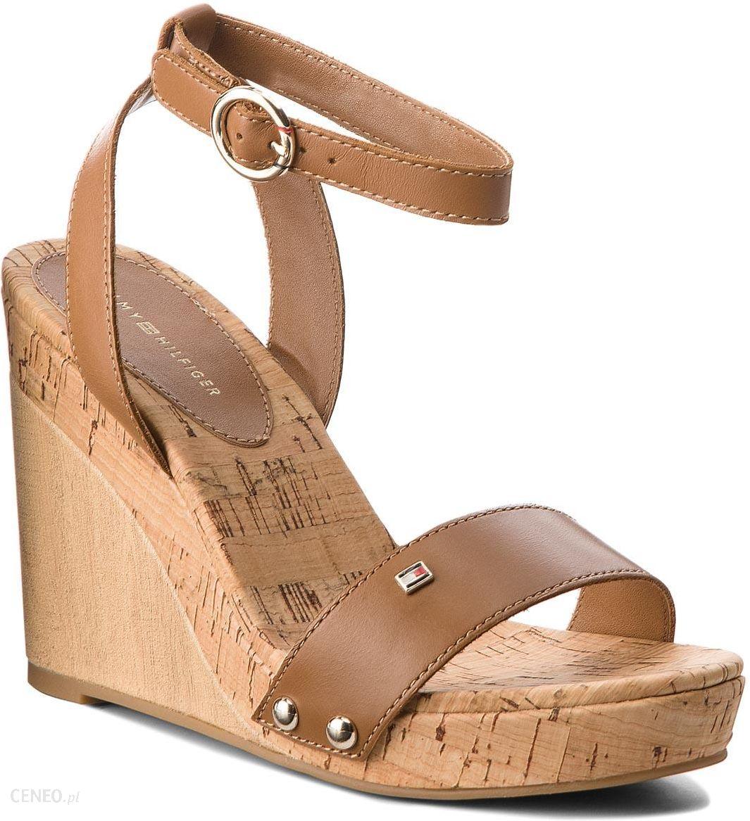 ef1d1cc951150 Sandały TOMMY HILFIGER - Iconic Elena Leather Straps FW0FW02097 Summer  Cognac 929 - zdjęcie 1