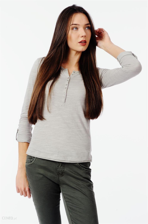 7e7298c58de01a Beżowa bluzka damska z długim rękawem - beżowy melanż - Ceny i ...