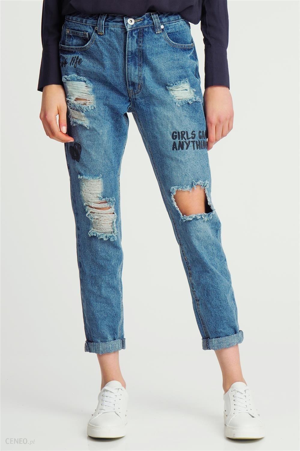 Spodnie damskie boyfriend jeans z dziurami niebieskie pasek gratis A75