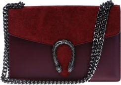 d3e05e3f7b2a6 Włoska torebka z podkową a'la Gucci miejska Pucci bordowa skóra naturalna  Vera Pelle