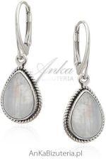 Kolczyki srebrne z kamieniem księżycowym szczęśliwym kamieniem
