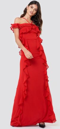 de2bdbd5fc NA-KD Sukienka maxi z falbankami