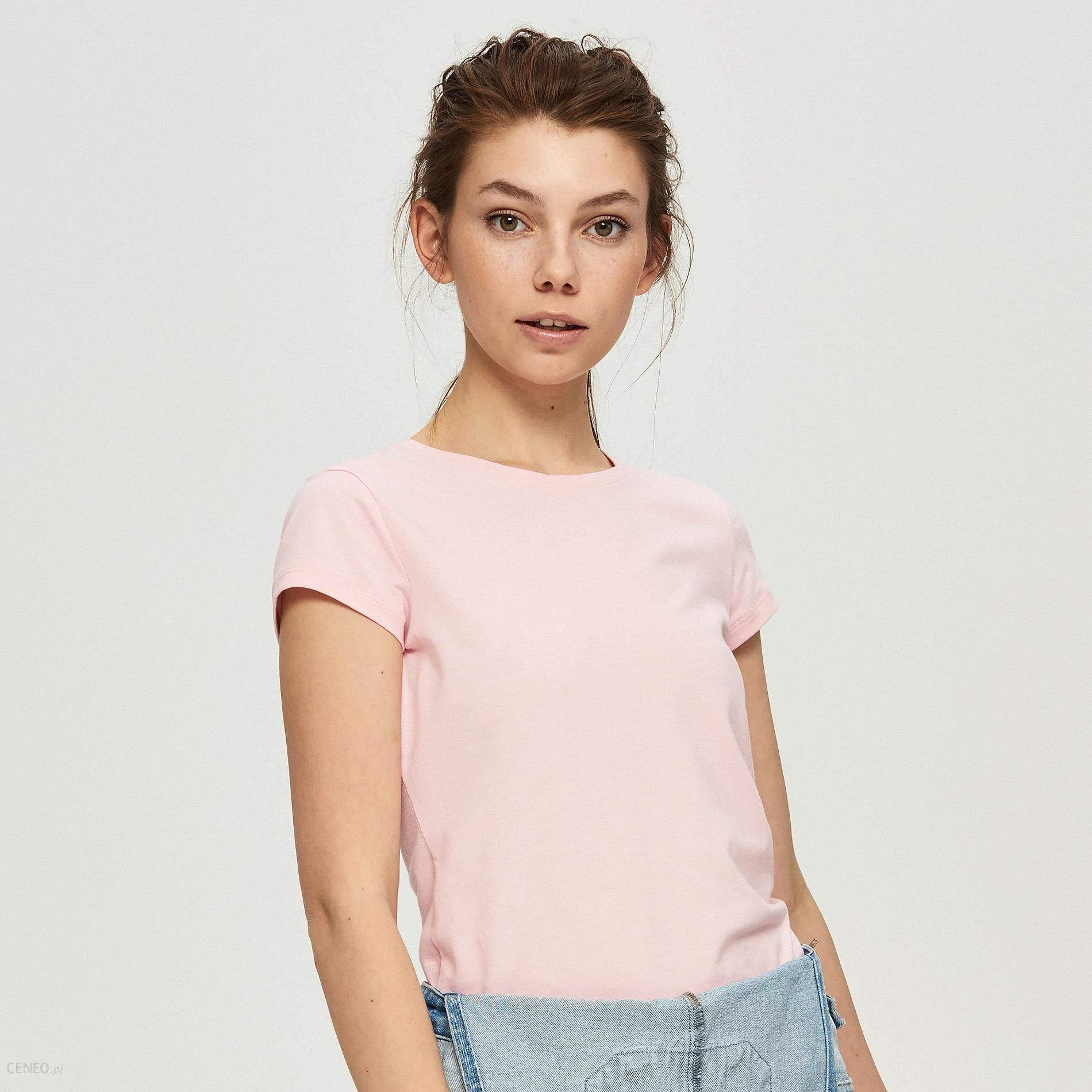 6a9531afd69d Sinsay - Gładki t-shirt - Różowy - Ceny i opinie - Ceneo.pl