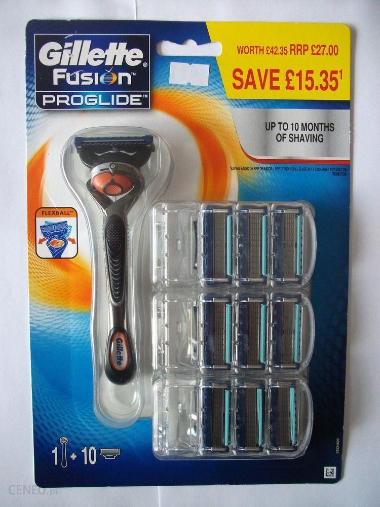 Inteligentny Gillette Fusion Proglide ostrza wymienne 10 Szt + maszynka Fex GJ44