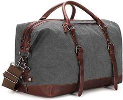 bb46ae5466443 Amazon baosha Vintage płótno żeglarskie Canvas PU skórzana unisex bagaż  podręczny torba podróżna torba sportowa torba