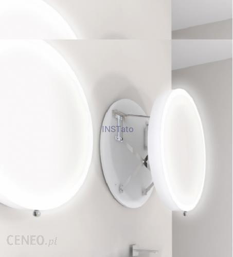 Miior Lustro łazienkowe Okrągłe 80cm Wysuwne Z Oświetleniem Led