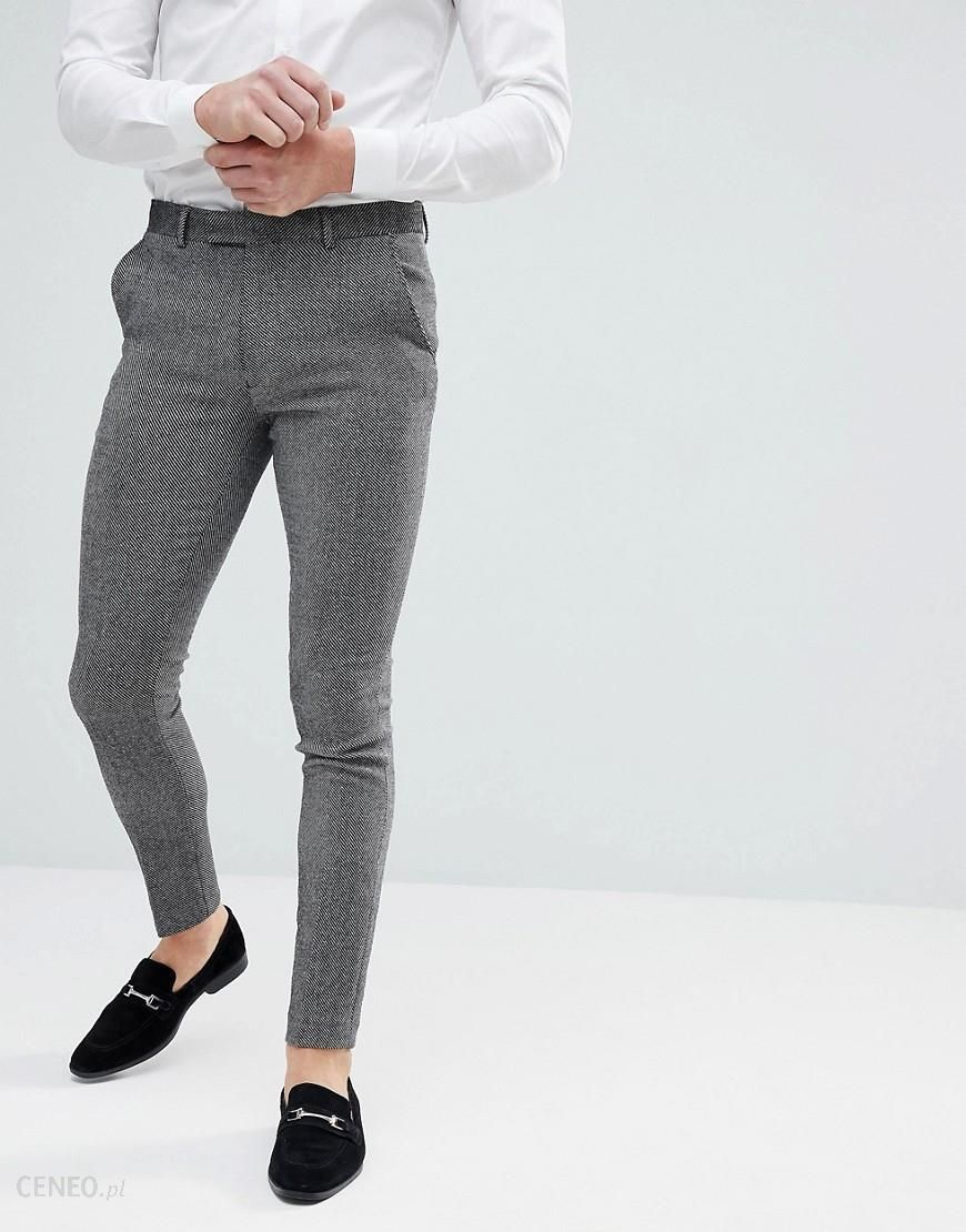 d230e885fa70 ASOS Super Skinny Smart Trousers In Dark Grey Wool Mix - Black - zdjęcie 1