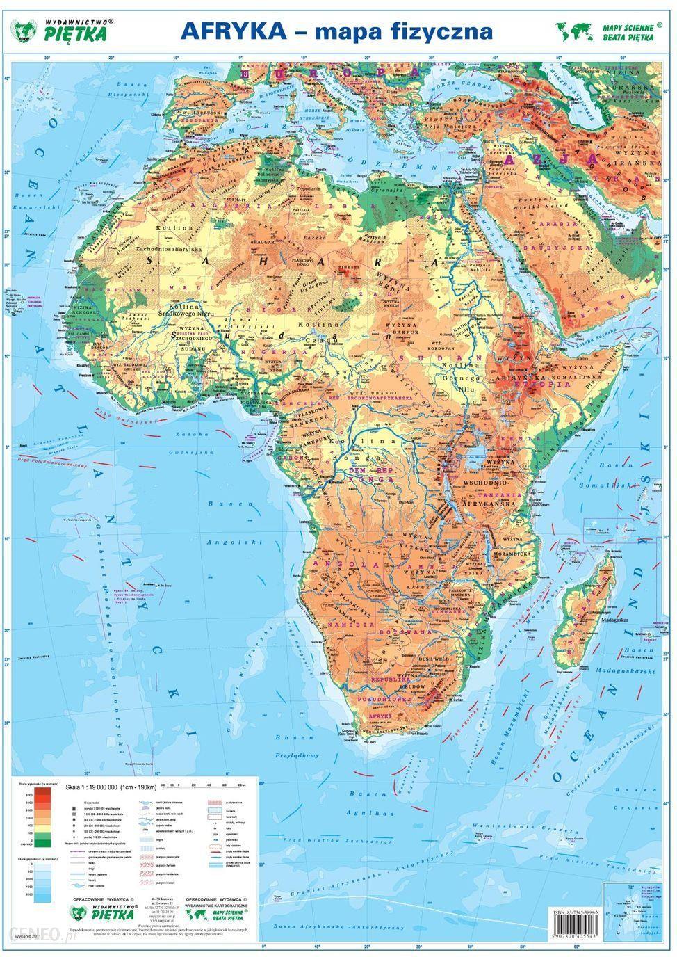 Mapa Scienna Afryka Mapa Fizyczno Polityczna W Skali 1 19 000 000