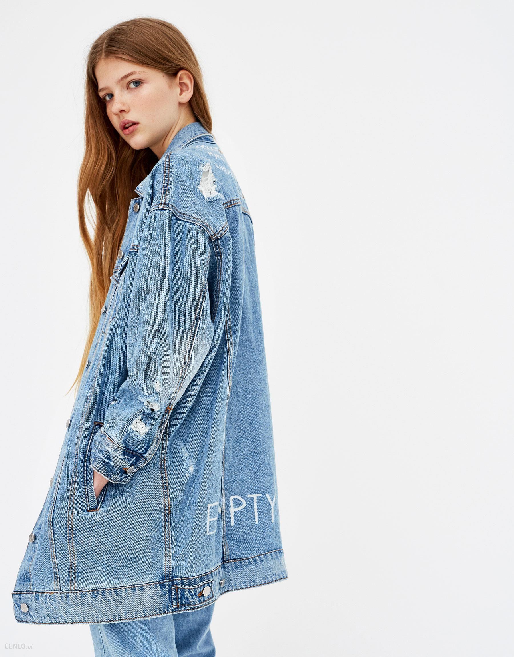 74137dce9dbe Pull   Bear Długa kurtka jeansowa z przetarciami - Ceny i opinie ...
