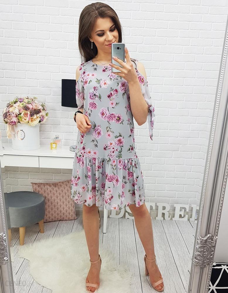 f38fb7b753 Sukienka FLOWER GREY (ey0326) - Szary - Ceny i opinie - Ceneo.pl